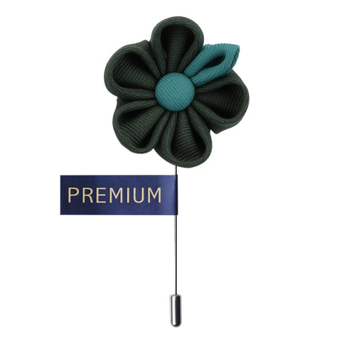 Dual Shaded Beauty Dark Green & Sea Green Colored Brooch / Lapel Pin for Men | Genuine Branded Product from Peluche.in