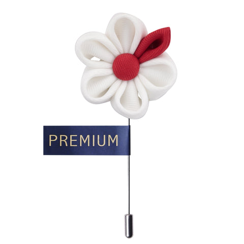 Dual Shaded Beauty White & Red Colored Brooch / Lapel Pin for Men | Genuine Branded Product from Peluche.in