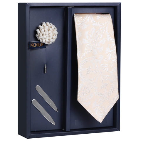 The Serene Styled Gift Box Includes 1 Neck Tie, 1 Brooch & 1 Pair of Collar Stays for Men | Genuine Branded Product from Peluche.in