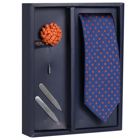 The Calico  Gift Box Includes 1 Neck Tie, 1 Brooch & 1 Pair of Collar Stays for Men | Genuine Branded Product from Peluche.in