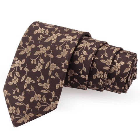 Cleaning cut Brown Colored Microfiber Necktie for Men | Genuine Branded Product from Peluche.in