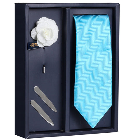 Blue Alluring Gaze Gift Box Includes 1 Neck Tie, 1 Brooch & 1 Pair of Collar Stays for Men | Genuine Branded Product from Peluche.in