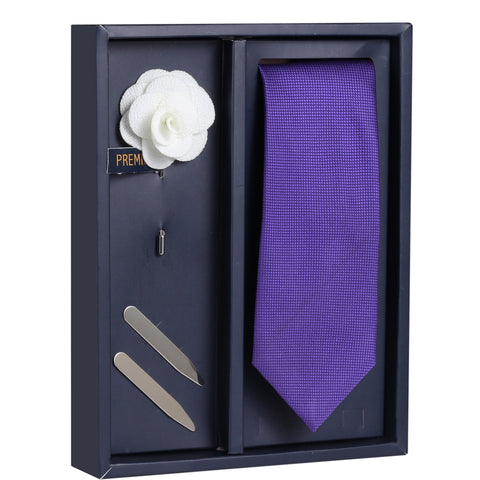 Purple Alluring Gaze Gift Box Includes 1 Neck Tie, 1 Brooch & 1 Pair of Collar Stays for Men | Genuine Branded Product from Peluche.in