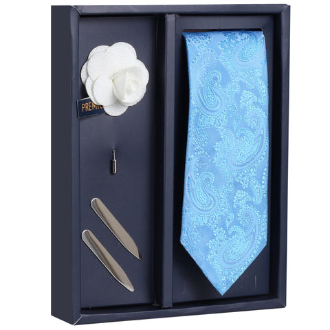 The Royal Blaze Gift Box Includes 1 Neck Tie, 1 Brooch & 1 Pair of Collar Stays for Men | Genuine Branded Product from Peluche.in