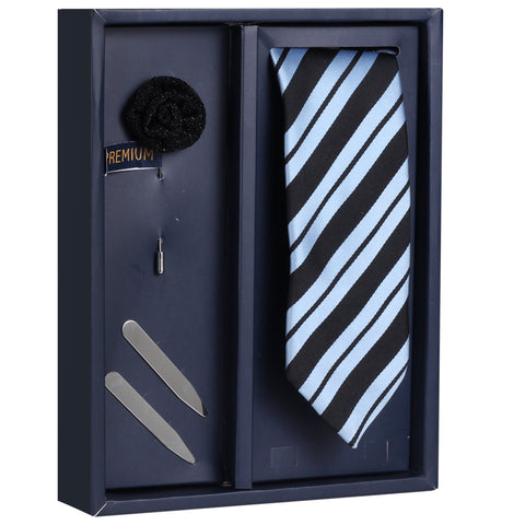The Stripy Stripes Gift Box Includes 1 Neck Tie, 1 Brooch & 1 Pair of Collar Stays for Men | Genuine Branded Product from Peluche.in