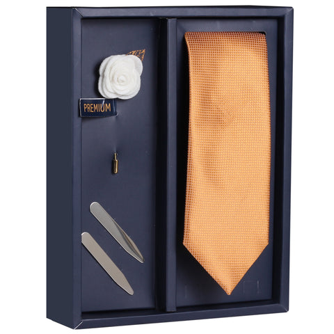 The Sutle Combo Gift Box Includes 1 Neck Tie, 1 Brooch & 1 Pair of Collar Stays for Men | Genuine Branded Product from Peluche.in