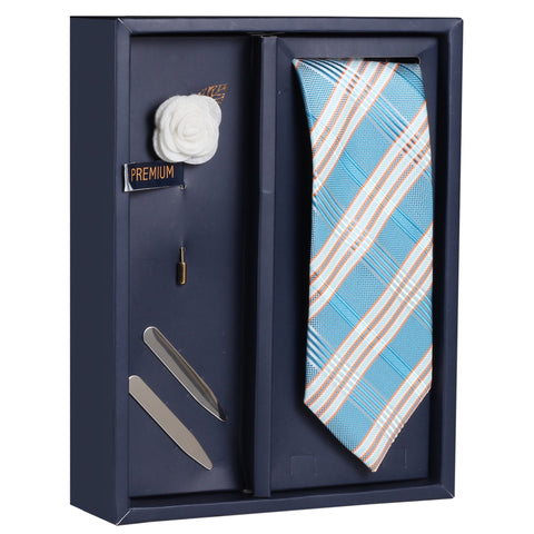 The Graceful Oper Gift Box Includes 1 Neck Tie, 1 Brooch & 1 Pair of Collar Stays for Men | Genuine Branded Product from Peluche.in