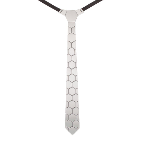 Sophisticated Flair Silver and  Acrylic  Hex Tie for Men