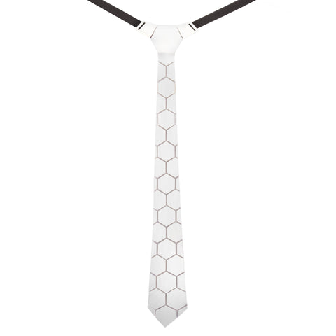 Sophisticated Flair White Colored Acrylic HexTie for Men   | Genuine Product For Men