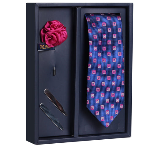 The Comely Farrago Gift Box Includes 1 Neck Tie, 1 Brooch & 1 Pair of Collar Stays for Men | Genuine Branded Product from Peluche.in