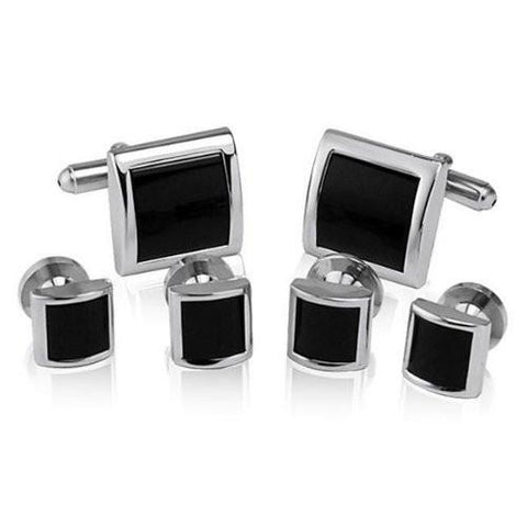 Onyx Stone Studded - Cufflinks and Shirt Studs Set