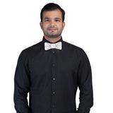 Mirror Effect Silver and Black Colored Acrylic Hex Bow Tie for Men