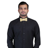 Polished Statement Golden and Black Colored Acrylic Hex Bow Tie for Men