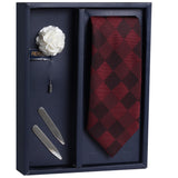 The Refined Checks Gift Box Includes 1 Neck Tie, 1 Brooch & 1 Pair of Collar Stays for Men | Genuine Branded Product from Peluche.in