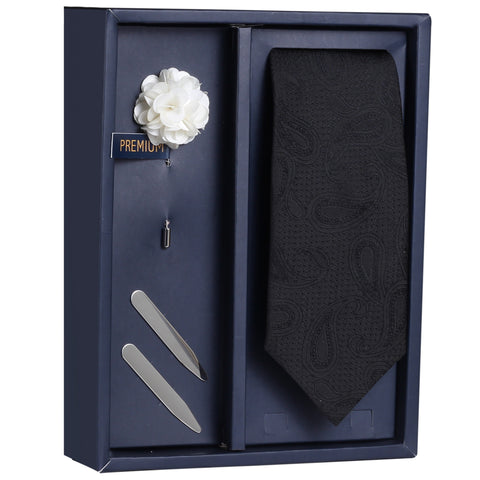 The Splendid Pastiche Gift Box Includes 1 Neck Tie, 1 Brooch & 1 Pair of Collar Stays for Men | Genuine Branded Product from Peluche.in