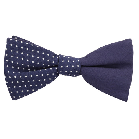 Dotty Design Navy Blue and White Colored Cotton Bow Tie for Men | Genuine Branded Product from Peluche.in