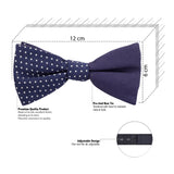 Dotty Design Navy Blue and White Colored Cotton Bow Tie for Men