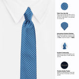 Mini Blue Arrows Microfiber Necktie For Men
