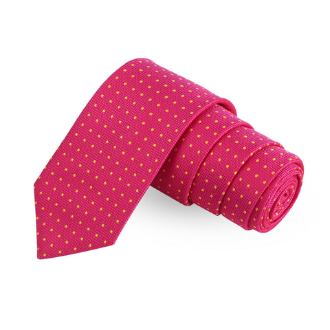 Notty Yellow Polka Dots Microfiber Necktie For Men