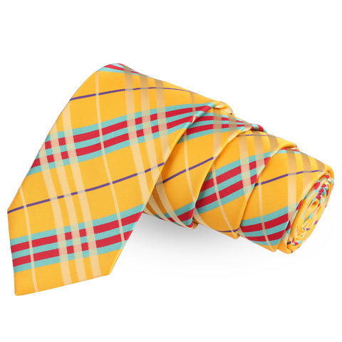 Polished Yellow Yellow Colored Microfiber Necktie For Men | Genuine Branded Product  from Peluche.in