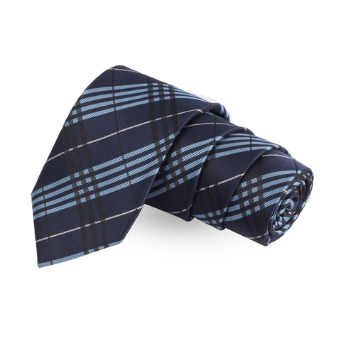 Striped Blue Colored Microfiber Necktie For Men | Genuine Branded Product  from Peluche.in