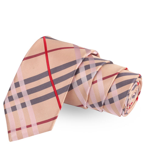 Magnificent Stripes Beige Colored Microfiber Necktie For Men | Genuine Branded Product  from Peluche.in