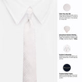 Stunning White Microfiber Necktie For Men