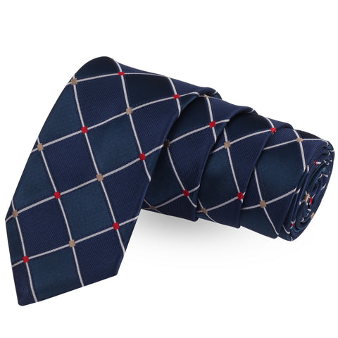 Alluring Checks Blue Colored Microfiber Necktie For Men | Genuine Branded Product  from Peluche.in