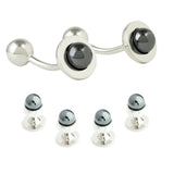 Peluche Stone Saga - Cufflinks and Shirt Studs Set Brass, Haematite