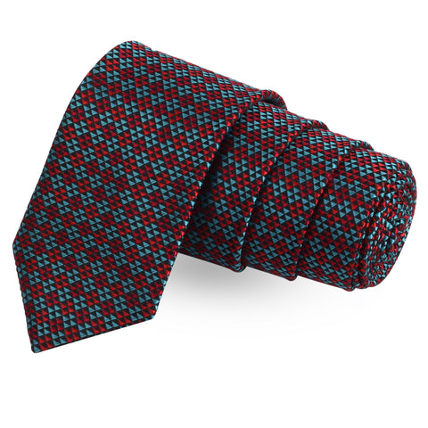 The Prymic Cut Red Colored Microfiber Necktie For Men | Genuine Branded Product  from Peluche.in