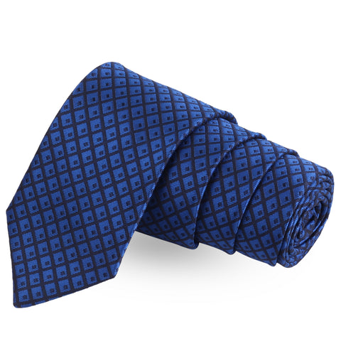 On Point Check Blue Colored Microfiber Necktie For Men | Genuine Branded Product  from Peluche.in