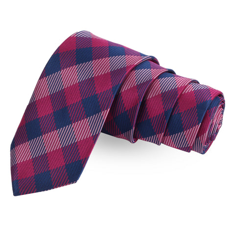 The Striped Check Pink Colored Microfiber Necktie For Men | Genuine Branded Product  from Peluche.in