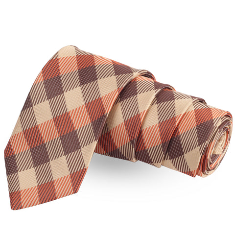 The Striped Check Beige Colored Microfiber Necktie For Men | Genuine Branded Product  from Peluche.in