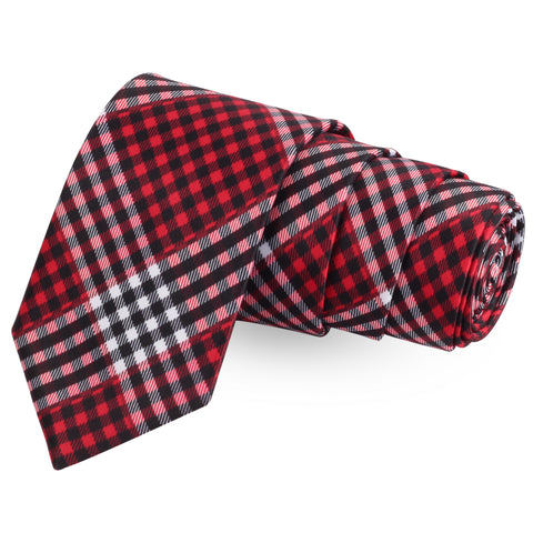 The Little Checks Red Colored Microfiber Necktie For Men | Genuine Branded Product  from Peluche.in