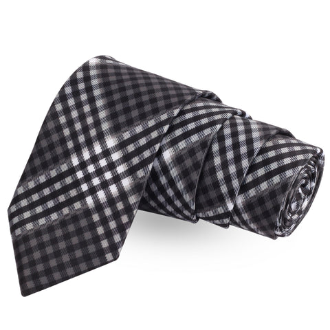 The Little Checks Black Colored Microfiber Necktie For Men | Genuine Branded Product  from Peluche.in