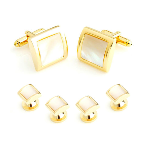 Peluche Golden MOP Studded Cufflink and Shirt Studs Brass, Haematite