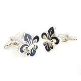 Beautifully Crafted Orchid - Dark Blue, Silver Cufflinks