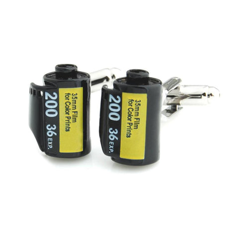 Peluche - Camera Roll - Black, Yellow - Cufflinks - Brass, Enamel