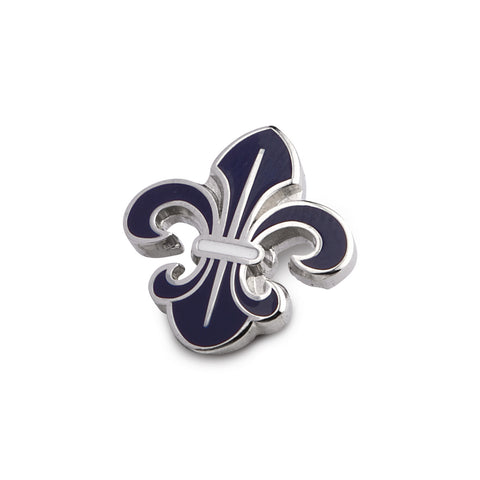 Beautifully Crafted Orchid - Dark Blue, Silver Lapel Pin Lapel Pin