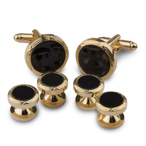 Golden and Black Crystal Studded & Shirt Studs Set
