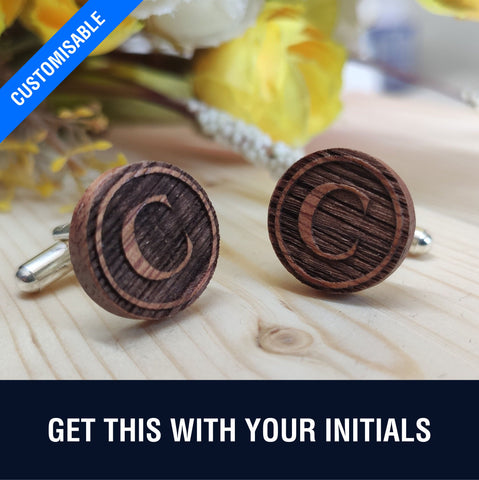 Personalised Natural Zebra Wood Cufflinks