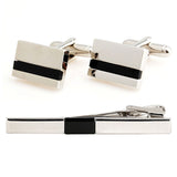 Peluche Debonair - Cufflinks and Tie Pin Set Brass, Culture Stone, Black Onyx Stone