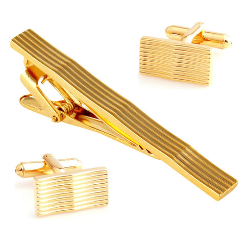 Peluche Curves to Kill - Golden Cufflinks and Tie Pin Set Brass