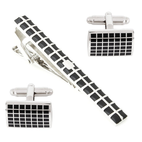 Mr.Dapper - Rock the Party - Black Cufflinks and Tie Pin Set