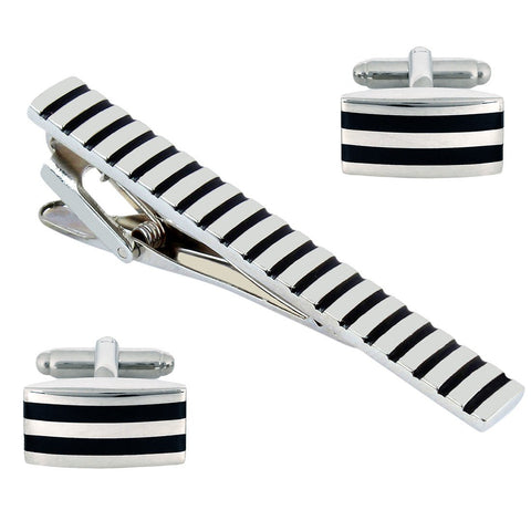 Mr.Dapper - Party Striped - Cufflinks and Tie Pin Set