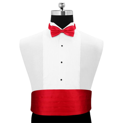 Peluche Sultry Red Cummerbund and Bow Tie Set Satin