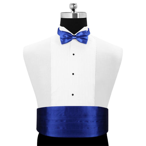 Peluche Bold Blue - Cummerbund and Bow Tie Set Satin