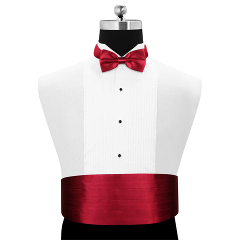 Peluche Maroon Affair - Cummerbund and Bow Tie Set Satin