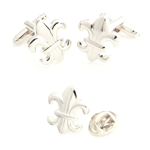 Silver Orchid - Cufflink and Lapel Pin Set