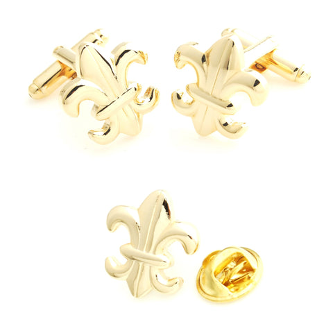 Golden Orchid - Cufflink and Lapel Pin Set
